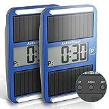 wolketon 2 Stück Vielseitig Digitale Parkscheibe mit offizieller Zulassung, mit Solarhilfsstromversorgung, Batterie und klebematerial, Spart Zeit und Geld
