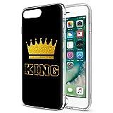 Eouine Funda para iPhone 8 Plus, Fundas para iPhone 7 Plus, Cárcasa Silicona 3D Suave TPU con King Queen Dibujos Impresión Patrón Case Cover Fundas para Movil para iPhone 8Plus/7Plus 2018 (King, Oro)