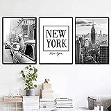 LIANGX Cuadro de pared de Nueva York en blanco y negro, diseño vintage de lama, sin marco (3 x 30 x 40 cm)