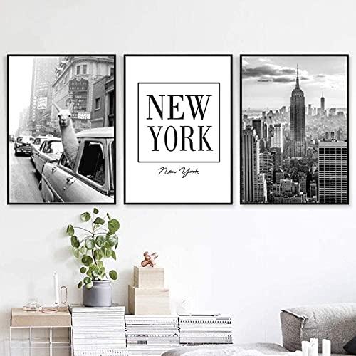LIANGX Cuadro de pared de Nueva York en blanco y negro, diseño vintage de lama, sin...
