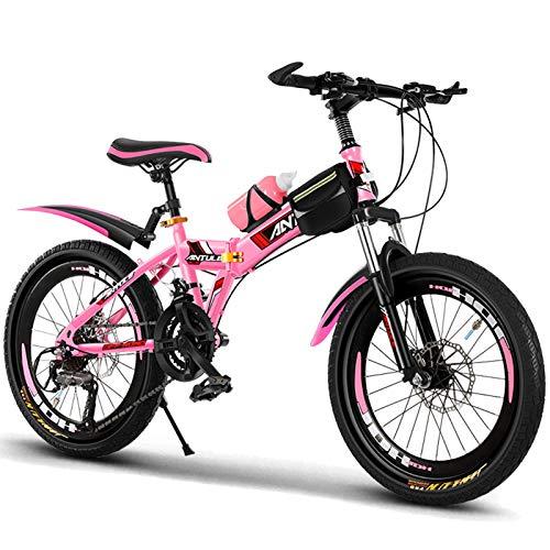 Axdwfd Infantiles Bicicletas Bicicletas para niños y niñas, Bicicletas de 20 Pulgadas para niños de 9 a 14 años, con Guardabarros y Soporte. (Color : Pink)