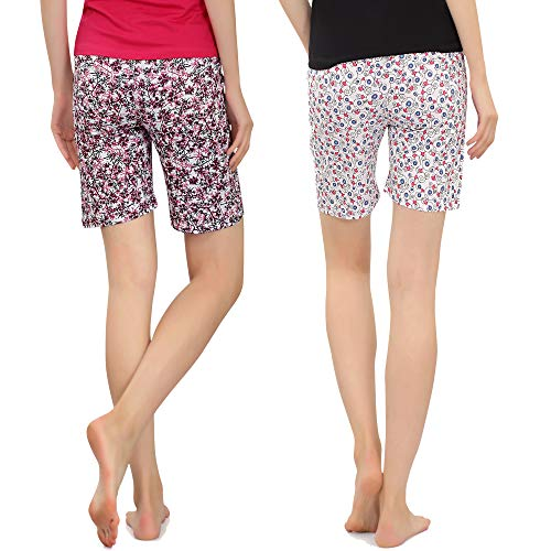 Zebu Women's Cotton Printed Shorts (Medium) - Pack of 2