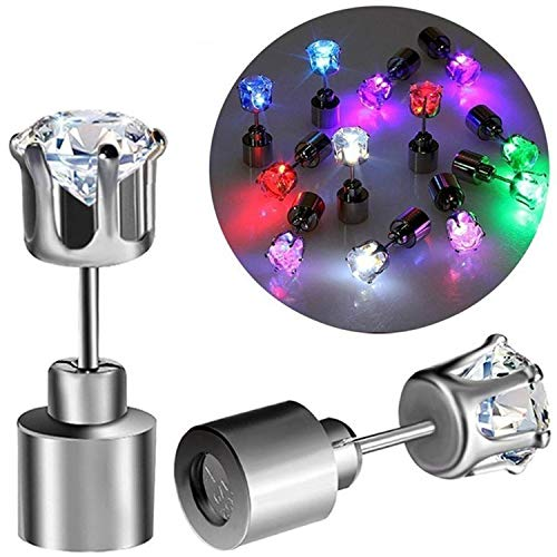 Atcket (Mehrfarbig, 1 Paar Stilvolle LED Blinkende Ohrstecker Gl?nzende blinkende Kristall Anh?nger f¨¹r Party Festival