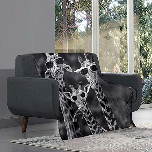 chaqlin Manta de sherpa con estampado de jirafa animal, súper suave, esponjosa, manta decorativa para cama, sofá, vacaciones, accesorios de dormitorio, 142 x 109 cm