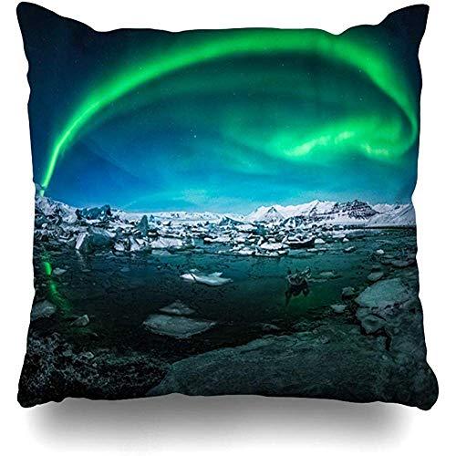 Fodera per cuscino per cuscino quadrato 50x50cm (20In) Bellissima Aurora apparso sopra il ghiacciaio Turistico Islandese Parchi del lago Trame per esterno Scandinavia Federa con cerniera Federa decorativa Decorazioni per la casa