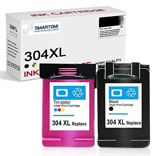 SMARTOMI Remanufacturado 304XL 304 Compatibles con HP 304 XL Cartucho de tinta Para DeskJet 2622 2633 2634 3720 3730 3733 3735 3750 3760 3762 3764AIO ENVY5010 5020 5030 5032AIO AMP130 Series 2 paquete