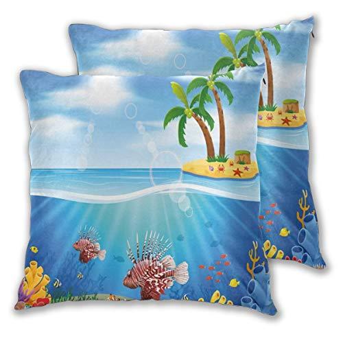 LISNIANY Funda Cojin 2 Fundas,Gráficos de pez león y arrecifes de Coral en el mar Belleza Marina Palmeras en la Isla,Muy Suave,Funda de Almohada,Dormitorio y Sala de Estar