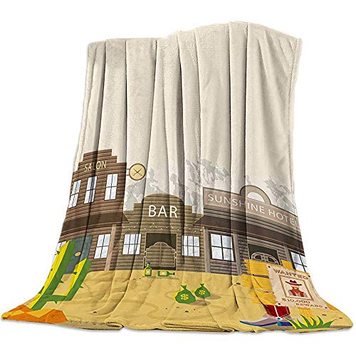 Blanket Western Blankets,American Country Style Cactus Desert Warm Flannel Throw Blanket Home Office Sofa Chair Cars, 50 x 40