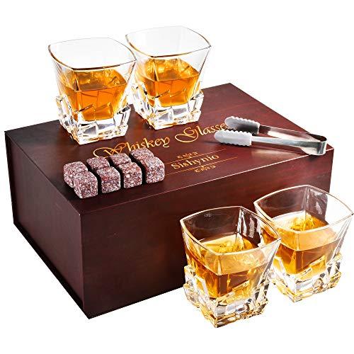 Whiskey Glasses set of 4 with 8 Granite Chilling Whiskey Rocks|Sishynio 4 Glasses Deep Etched 10oz Rocks Glass Husband Gifts for Birthday Dad's Birthday