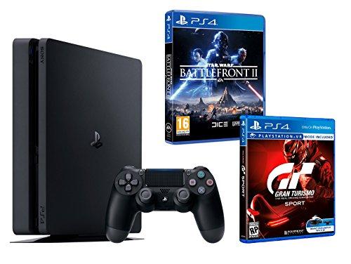 PS4 Slim 1To Noir Playstation 4 Pack 2 Jeux - Star Wars: Battlefront 2 + Gran Turismo Sport GT Sport