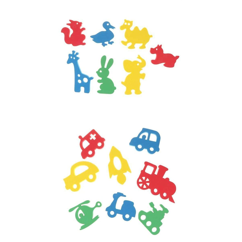 KESOTO 15個 入浴玩具 ベビー バスタイムパズル 水浮遊おもちゃ 車両 動物の形 知育 認識おもちゃ