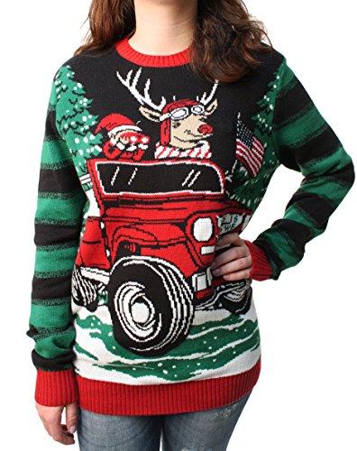 Ugly Christmas Sweater Men Jeep Reindeer Led Light Up Pullover Sweatshirt