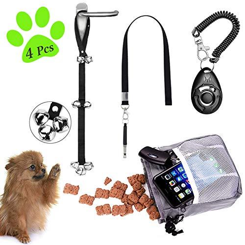 D-buy 4-in-1 Hundetraining-Set für Welpen, Leckerli-Trainingstasche, Hundepfeife, Türglocken, Hunde-Klicker, erste Haustierbesitzer, Training von Hundebesitzern, grau