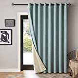 """MIULEE 100% Blackout Curtains Linen Textured for Sliding Glass Door Double Wide Thermal Insulated Light Blocking Drapes with Grommet for Bedroom Living Room 1 Panel 100' Wide x 84"""" Long Green"""