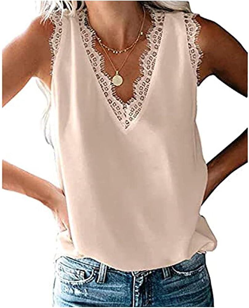 nine bull Womens V Neck Lace Tank Tops Casual Sleeveless Blouse Shirts Cami Shirts Blouse