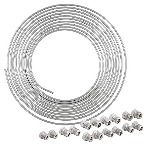 4LIFETIMELINES 25 ft 3/16 Stainless Steel Brake Line Replacement Tubing Coil and Fitting Kit, 16 Fittings Included, Inverted Flare, SAE Thread, 0.028 inch wall thickness