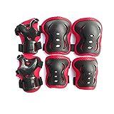 Tenrios Genouillère pour enfants avec protège-coudières pour patins à roulettes, cyclisme, BMX, skateboard, scooter, équitation, sport (rouge)
