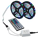 Sunnyflowk 10M 3528 SMD RGB Tira de luz LED flexible 600LEDs +44 Control remoto IR clave (Multicolor)