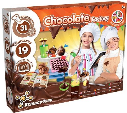 Science4you - Fábrica de Chocolates para Niños +8 Años Multi Idioma - Juego Educativo, 31 Experimentos Cientificos: Haz Galletas y Bombones Incluye Moldes - Juego Cocina Infantil para Niños 8+ Años