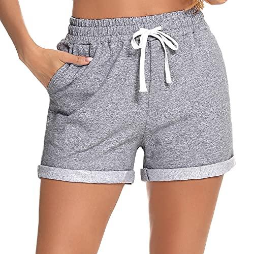 Hawiton Pantaloni Pigiama Donna Pantaloni Lunghi Pigiama Pantaloni Pigiama in Cotone Pantaloni Morbidi per Il Tempo Libero per Donna Pantaloni Pigiama C-Grigio L