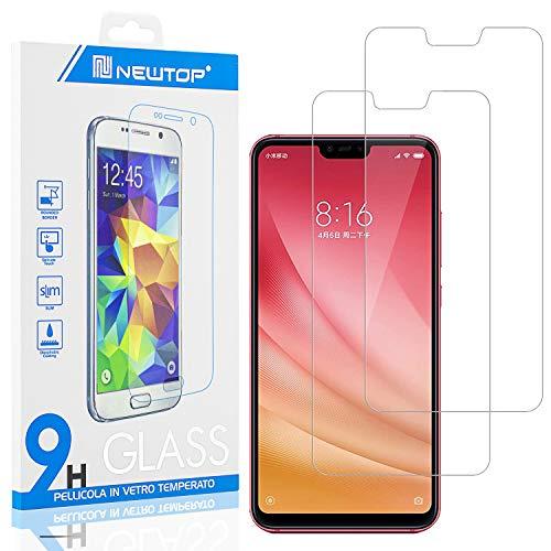 N NEWTOP [2 Pezzi] Pellicola GLASS FILM Compatibile per Xiaomi Mi 8 Lite, Fina 0.3mm Durezza 9H in Vetro Temperato Proteggi Schermo Display Protettiva Anti Urto Graffio Protezione