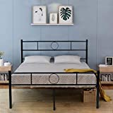 GreenForest Full Size Bed Frame Platform with Headboard and Stable Metal Slats Mattress Base Boxspring Replacement, Black