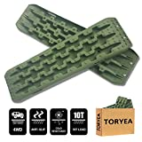 Toryea Olive Green 2Pcs Traction Mats for Sand Mud Snow Track Boards 4WD Off Road