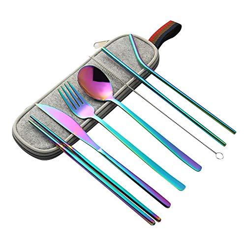Yisscen Cubiertos Portátiles 8 Piezas Juego de Cubiertos para Viaje Juego de Cubiertos de Acero Inoxidable Incluye Cuchillo Tenedor Cuchara Cepillo de Limpieza PalillosEstuche Cubiertos,Color