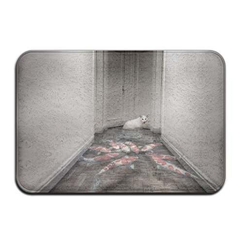 DDIAN Fish Animals Cat Hallway Door Water Non Slip Mat, Kitchen, Toilet, Laundry, Bedroom Or Pet Mat.