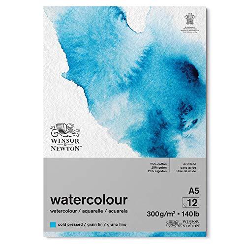 Winsor & Newton papel de acuarela, Mezcla de 25% algodón y Fibras de celulosa, Blanco Claro Natural, DIN A5