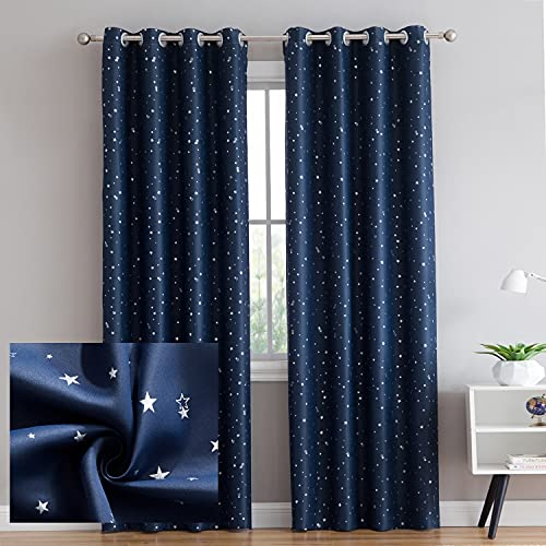 Vandesun Room Darkening Blackout Grommet Top Curtains with Silver Star Print for Living Room, Bedroom and Kids Room - 2 Panels (52 × 84 inch, Blue)