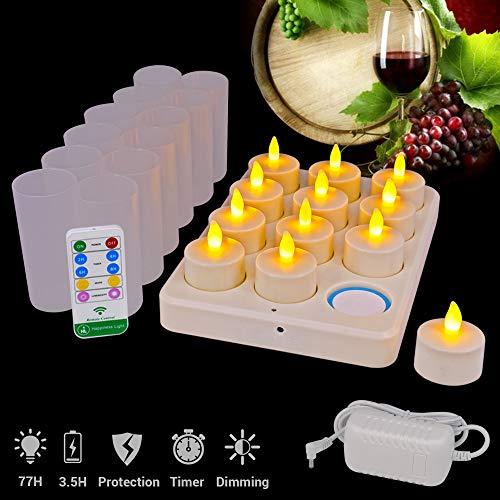 HL Wireless wiederaufladbare Teelichter, flammenlose Kerzen 3.5 Stunden Aufladen für 77 Stunden Dauerhaftes, flackerndes Kerzen-LED-Licht mit ferngesteuerten Tischlampen (gelb, 12er-Packung)