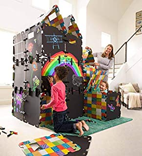 HearthSong Fantasy Fort Full Chalkboard Fort Building Kit - Velcro Connectors - Carton Building Clips - Includes 16 Panels - Each Panel Measures 22 W X 22 H