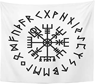 Emvency Tapestry Artwork Wall Hanging Norse Vegvisir Rune Abstract Algiz Amulet Celtics Collection Creative Digital 50x60 Inches Tapestries Mattress Tablecloth Curtain Home Decor Print