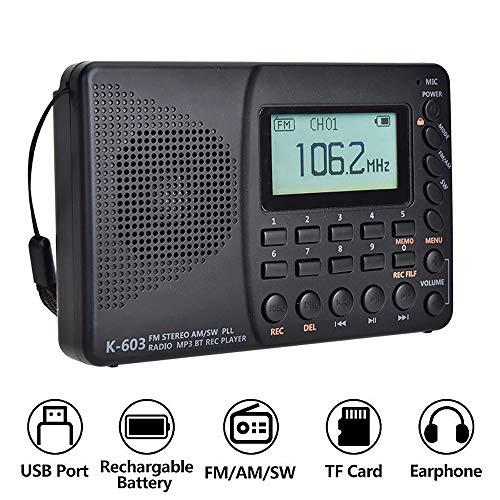 PopHMN FM Am SW Radio de Bolsillo portátil, Radio de Banda Completa Bluetooth MP3 Grabadora Digital Rec para Tarjeta Micro SD TF Temporizador de sueño Radio