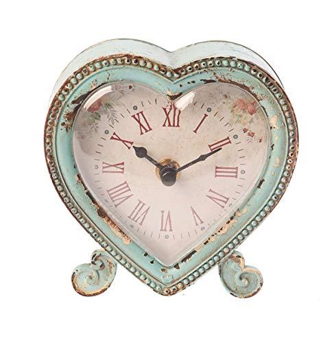 Sass & Belle herzförmige Uhr im Boudoir-Stil aus Zinn, metall, Duck Egg/ Pink, 12 x 12 x 2.5 cm