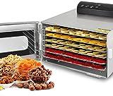 SHKUU Deshidratador Alimentos 6 bandejas, Secadora Frutas Acero Inoxidable, Control Temperatura Ajustable, 35-90 Grados, Temporizador 24 Horas, Pantalla táctil LCD, 400 W