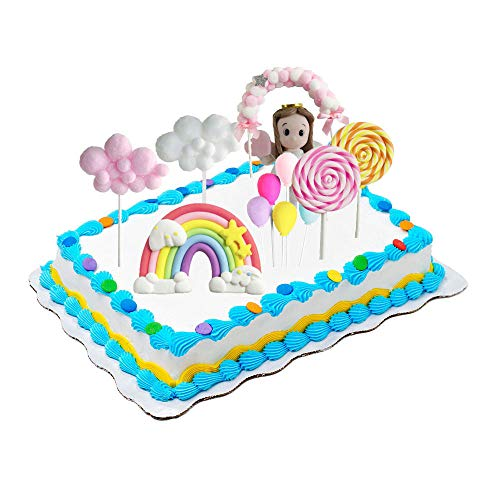 CZF ES 8 Pezzi Decorazione Torta di Compleanno, Cupcake Topper Set, Cake Topper Compleanno Arcobaleno Palloncino Decorazioni, per Ragazze, Bambini, Donna, Festa di Compleanno, Decorazioni per Torte