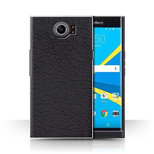 Stuff4 Hülle/Case für BlackBerry Priv/Oliv Schwarz Muster/Leder Patch Effekt Kollektion