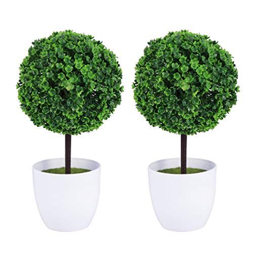 Wakauto 2 Stück Künstliche Buchsbaumkugeln im Freien mit Pflanzgefäß Künstliche Buchsbaum-Topiary-Bäume Blatt-Topiary-Kugel 23 cm Realistische Gefälschte Pflanze für Hausgarten Büro