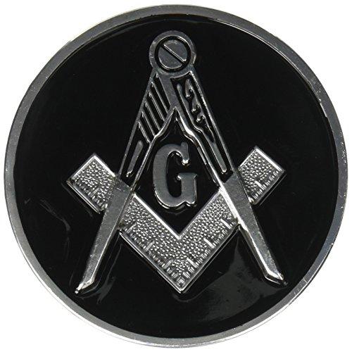 Square & Compass Round Masonic Auto Emblem - [Black & Silver][3'' Diameter]