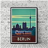 Póster de viaje vintage, póster de Berlín, impresión en lienzo, decoración artística de pared, 60x80 cm, sin marco