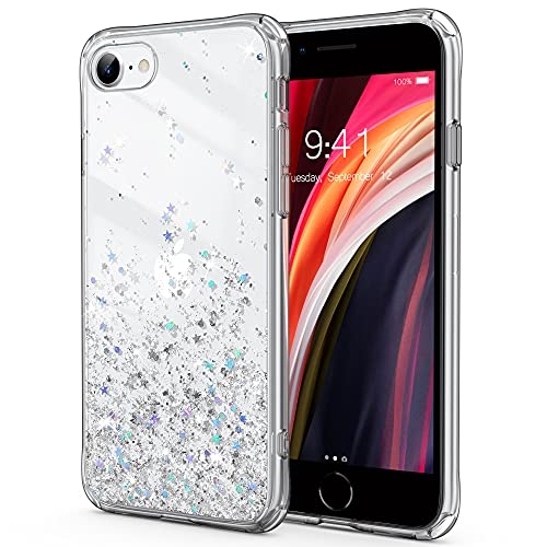 ULAK Cover iPhone SE 2020 Glitter,Cover iPhone 7 Trasparente,Cover iPhone 8 Glitter Custodia Silicone TPU Morbido + Retro PC Rigido Brillantini per iPhone SE 2020 / iPhone 8 /iPhone 7 da 4,7',Argento