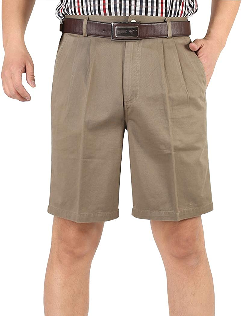 Hixiaohe Men's Classic Cotton Casual High Waist Loose Fit Pleated Front Shorts