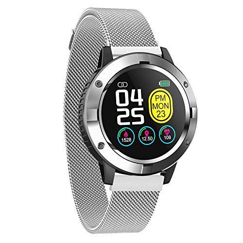 Smartwatch para Hombres Mujeres Niños, Reloj Inteligente Bluetooth IP67 Impermeable Pulsómetro Monitor Sueño SMS Whatsapp Recordatorio Llamada Podómetro Smart Watch para Android y iOS (Plata-Steel)
