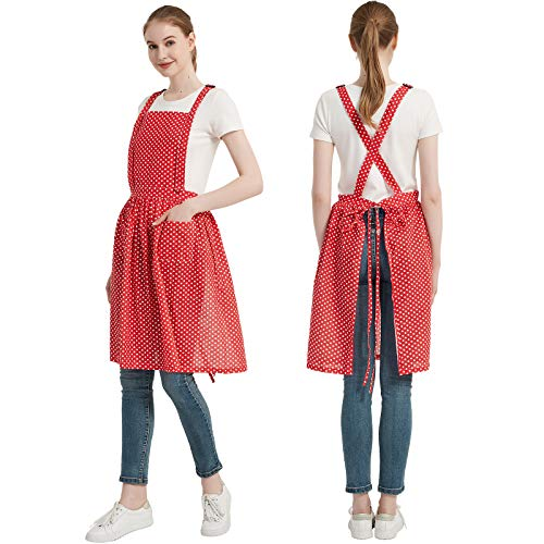 Cityelf Retro Adjustable Ruffle Apron with Pockets Vintage Lady's Kitchen Fashion Pure Cotton Frilly Apron for Cooking Baking (one size fit most, Black3pcs)