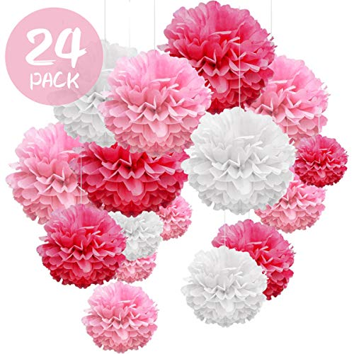 WEARXI Hochzeitsdeko 24er Seidenpapier Pompons - Hochzeit Deko Taufe Mädchen Bunt Pompoms Dekoration für Geburtstag, Party, Kommunion, Valentinstag (Rose Rot, Rose, Weiß)