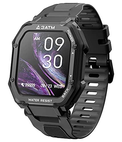 QHG Intelligente Uhren für Männer Frauen Herzfrequenz Blutsauerstoffüberwachung Fitness-Tracker 3ATM Wasserdichter voller Touchscreen Smart Watch für ios & Android (Color : Black)