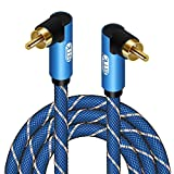 Double 90 Degree Subwoofer Cable RCA to RCA Audio Cable 24K Gold-Plated Nylon Braided Double Shielded Digital Analogue Supports Amplifiers,Home Theater,Hi-Fi Systems,Subwoofer (5ft)