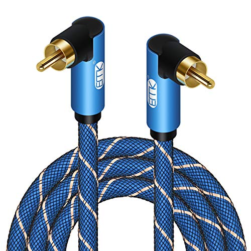Double 90 Degree Subwoofer Cable RCA to RCA Audio Cable 24K GoldPlated Nylon Braided Double Shielded Digital Analogue Supports AmplifiersHome TheaterHiFi SystemsSubwoofer 10ft